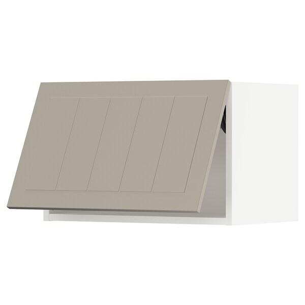 SEKTION Wall cabinet horizontal w push-open, white/Stensund beige, 61x37x38 cm