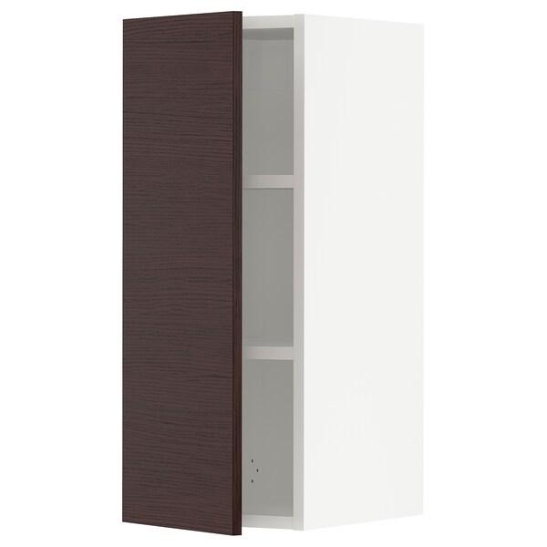 SEKTION Wall cabinet, white Askersund/dark brown ash effect, 31x37x76 cm