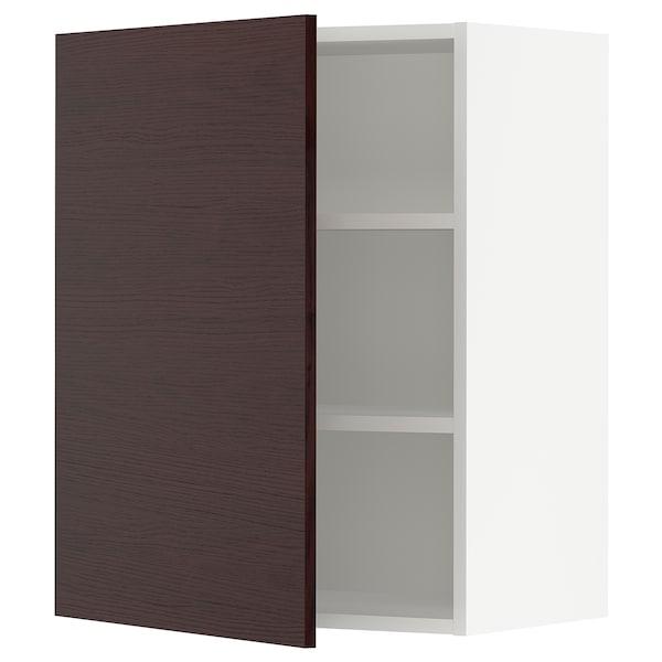 SEKTION Wall cabinet, white Askersund/dark brown ash effect, 61x37x76 cm