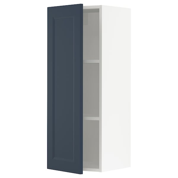 SEKTION Wall cabinet, white Axstad/matt blue, 38x37x102 cm