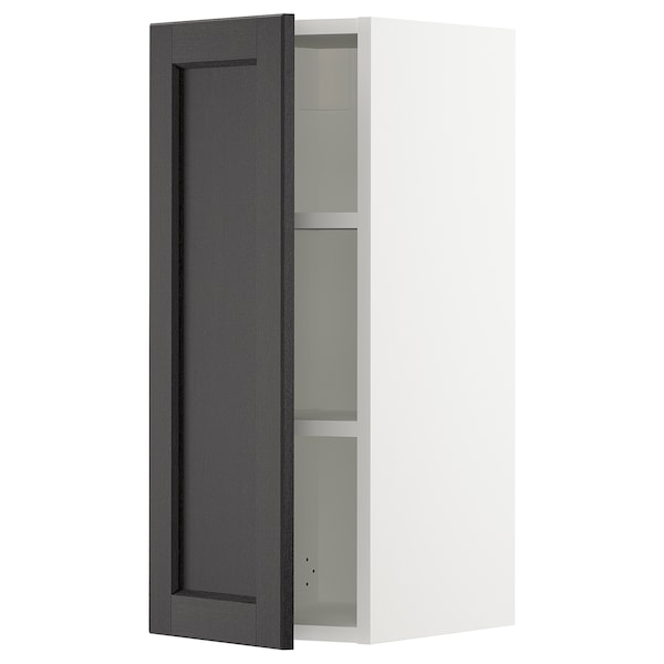 SEKTION Wall cabinet, white/Lerhyttan black stained, 31x37x76 cm