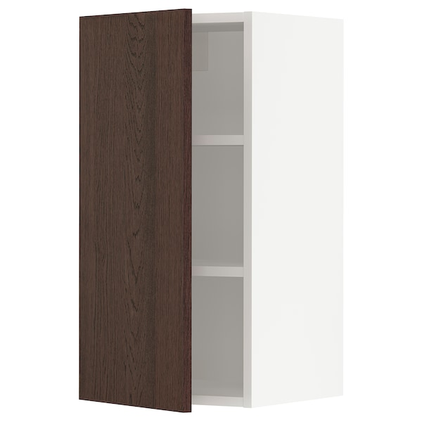 SEKTION Wall cabinet, white/Sinarp brown, 38x37x76 cm