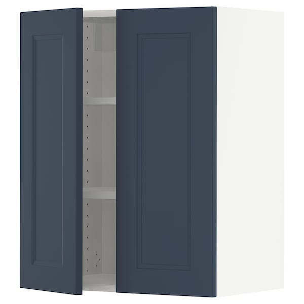 SEKTION Wall cabinet with 2 doors, white Axstad/matt blue, 61x37x76 cm