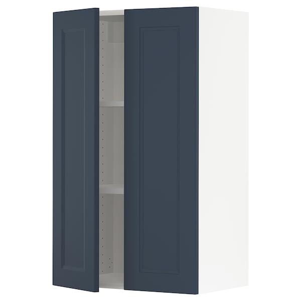 SEKTION Wall cabinet with 2 doors, white Axstad/matt blue, 61x37x102 cm