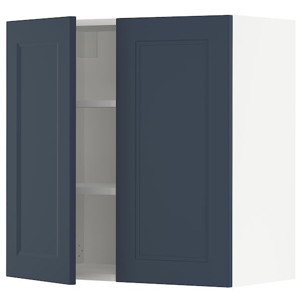 SEKTION Wall cabinet with 2 doors, white Axstad/matt blue, 76x37x76 cm