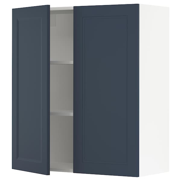 SEKTION Wall cabinet with 2 doors, white Axstad/matt blue, 91x37x102 cm