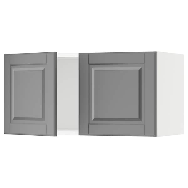 SEKTION Wall cabinet with 2 doors, white/Bodbyn grey, 76x37x38 cm