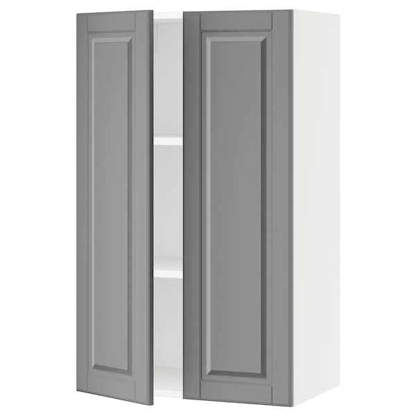 SEKTION Wall cabinet with 2 doors, white/Bodbyn grey, 61x37x102 cm