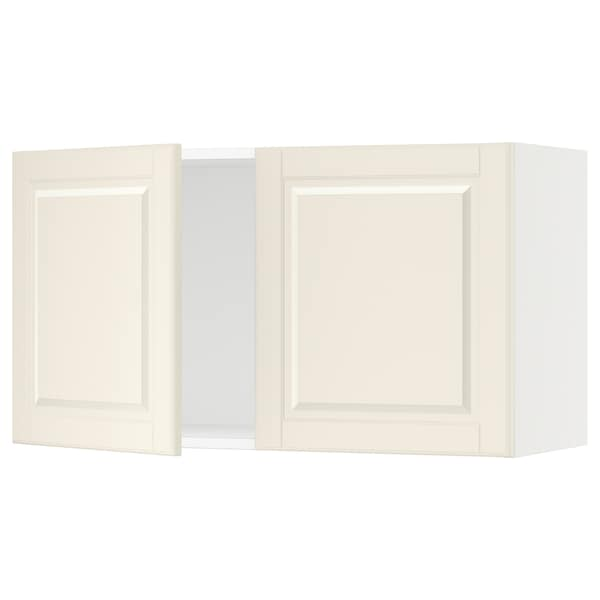 SEKTION Wall cabinet with 2 doors, white/Bodbyn off-white, 91x37x51 cm
