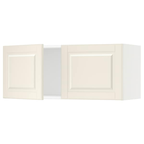 SEKTION Wall cabinet with 2 doors, white/Bodbyn off-white, 91x37x38 cm