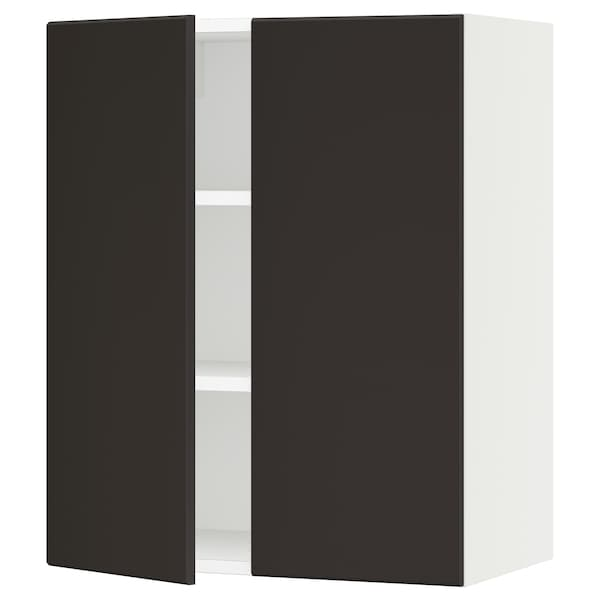 SEKTION Wall cabinet with 2 doors, white/Kungsbacka anthracite, 61x37x76 cm
