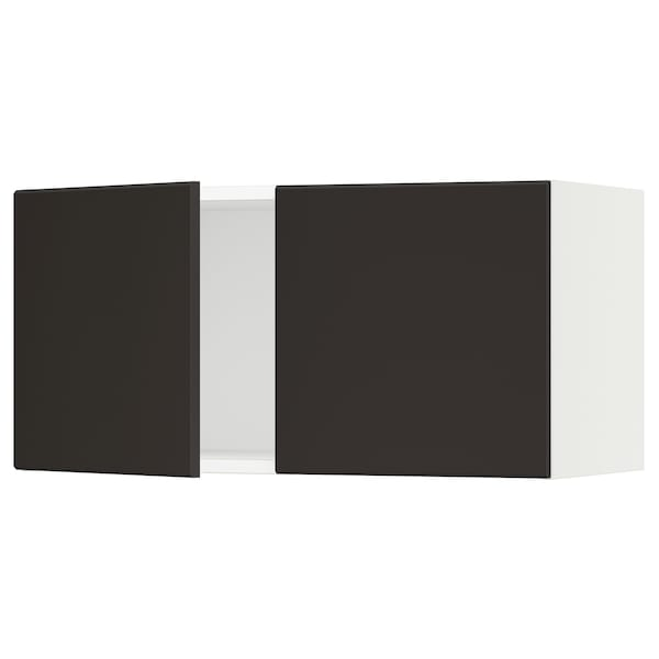 SEKTION Wall cabinet with 2 doors, white/Kungsbacka anthracite, 76x37x38 cm