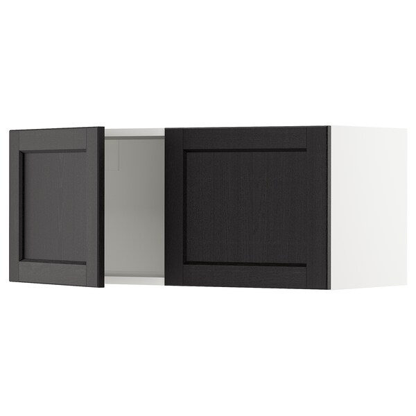 SEKTION Wall cabinet with 2 doors, white/Lerhyttan black stained, 91x37x38 cm