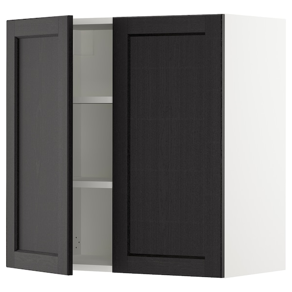 SEKTION Wall cabinet with 2 doors, white/Lerhyttan black stained, 76x37x76 cm