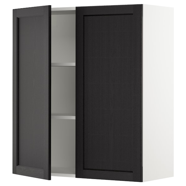 SEKTION Wall cabinet with 2 doors, white/Lerhyttan black stained, 91x37x102 cm
