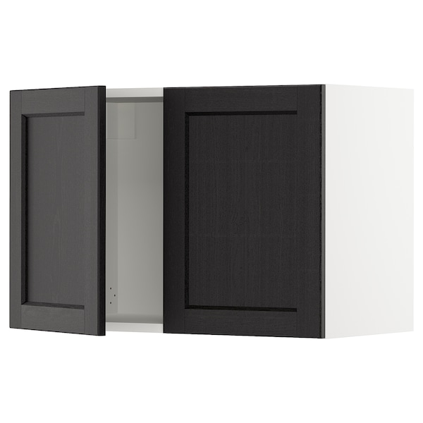 SEKTION Wall cabinet with 2 doors, white/Lerhyttan black stained, 76x37x51 cm