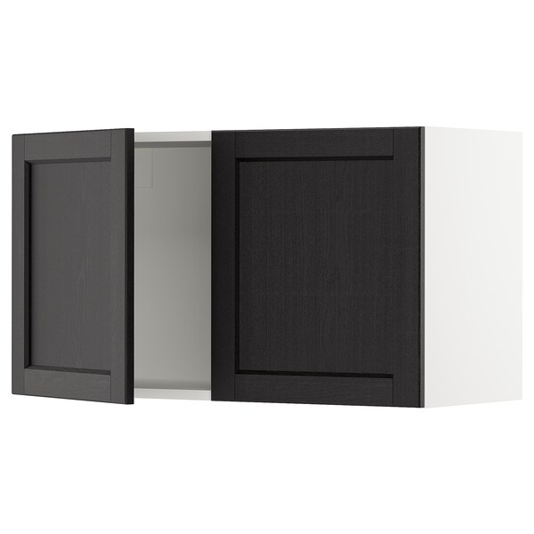 SEKTION Wall cabinet with 2 doors, white/Lerhyttan black stained, 91x37x51 cm