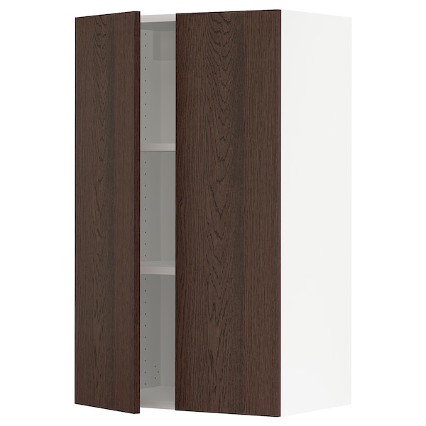 SEKTION Wall cabinet with 2 doors, white/Sinarp brown, 61x37x102 cm