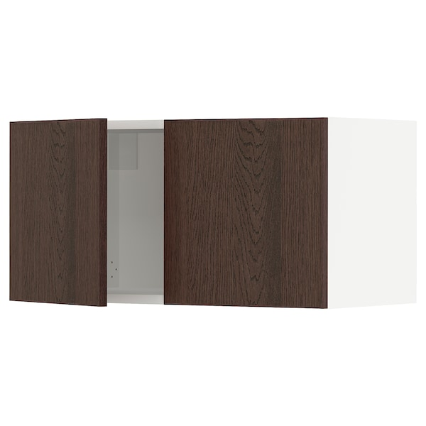 SEKTION Wall cabinet with 2 doors, white/Sinarp brown, 76x37x38 cm