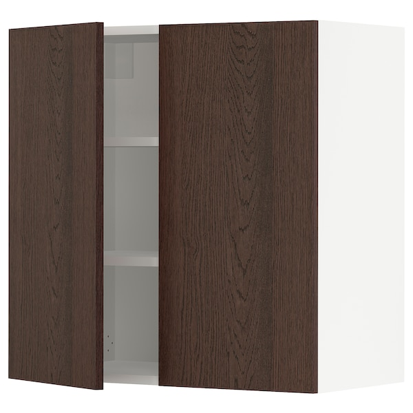 SEKTION Wall cabinet with 2 doors, white/Sinarp brown, 76x37x76 cm