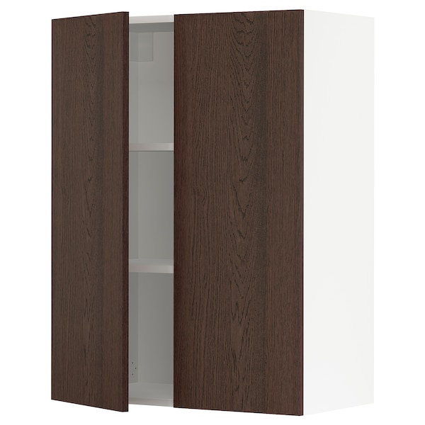 SEKTION Wall cabinet with 2 doors, white/Sinarp brown, 76x37x102 cm