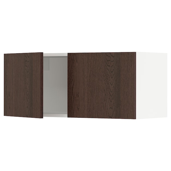SEKTION Wall cabinet with 2 doors, white/Sinarp brown, 91x37x38 cm