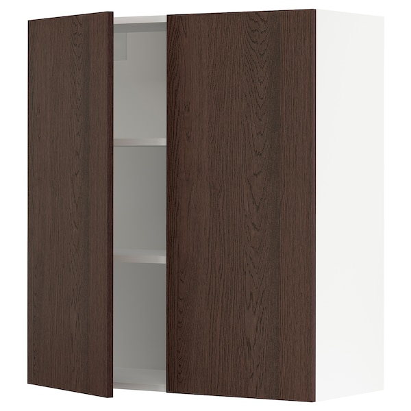 SEKTION Wall cabinet with 2 doors, white/Sinarp brown, 91x37x102 cm