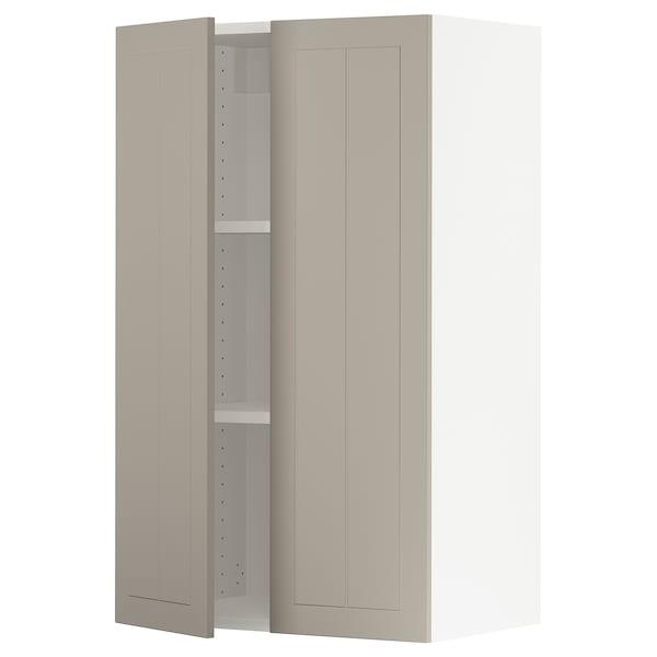 SEKTION Wall cabinet with 2 doors, white/Stensund beige, 61x37x102 cm