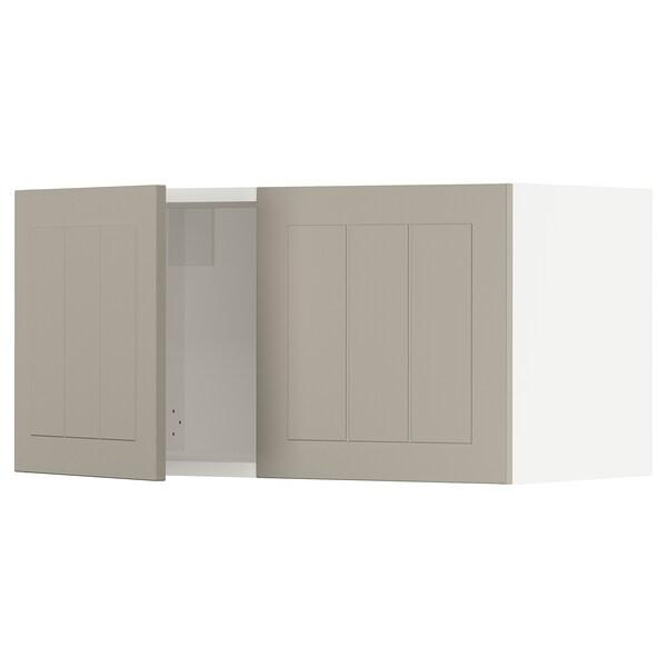 SEKTION Wall cabinet with 2 doors, white/Stensund beige, 76x37x38 cm