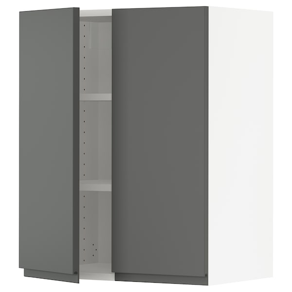 SEKTION Wall cabinet with 2 doors, white/Voxtorp dark grey, 61x37x76 cm
