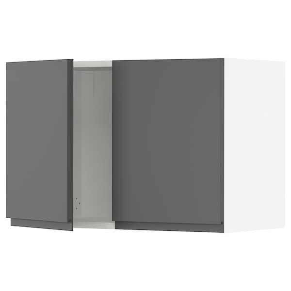 SEKTION Wall cabinet with 2 doors, white/Voxtorp dark grey, 76x37x51 cm