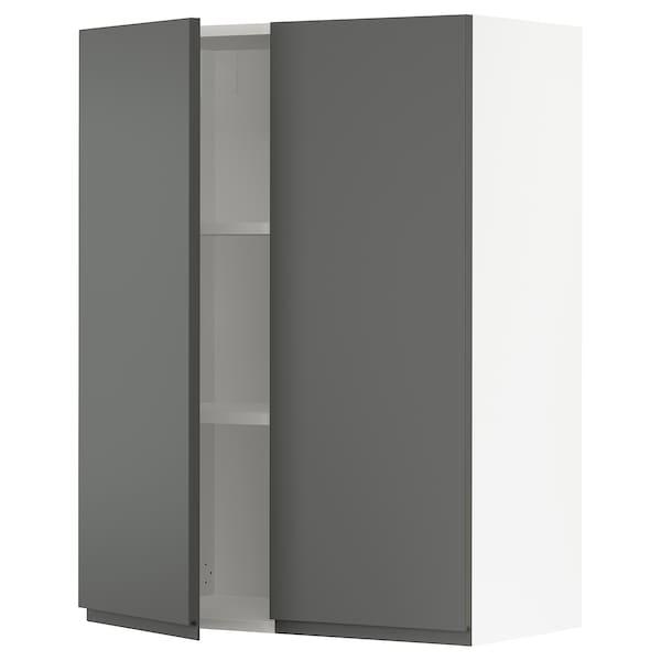 SEKTION Wall cabinet with 2 doors, white/Voxtorp dark grey, 76x37x102 cm