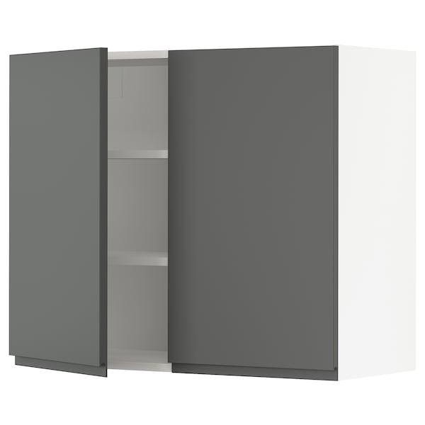 SEKTION Wall cabinet with 2 doors, white/Voxtorp dark grey, 91x37x76 cm