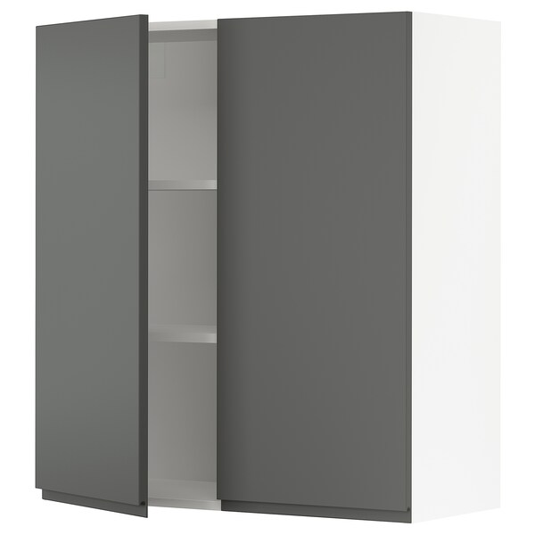 SEKTION Wall cabinet with 2 doors, white/Voxtorp dark grey, 91x37x102 cm
