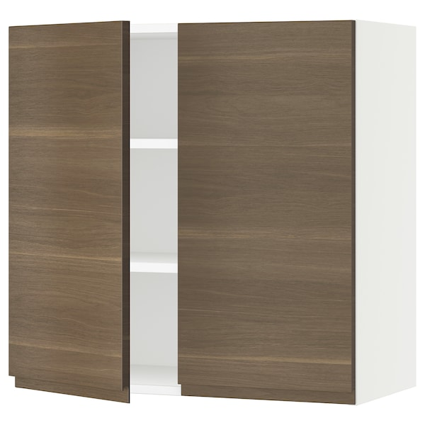 SEKTION Wall cabinet with 2 doors, white/Voxtorp walnut effect, 76x37x76 cm