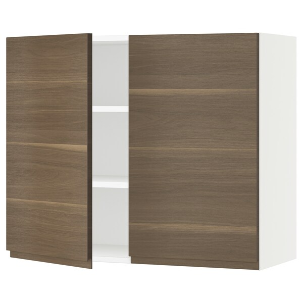 SEKTION Wall cabinet with 2 doors, white/Voxtorp walnut effect, 91x37x76 cm