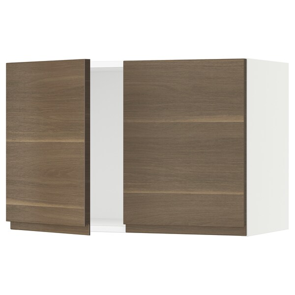 SEKTION Wall cabinet with 2 doors, white/Voxtorp walnut effect, 76x37x51 cm