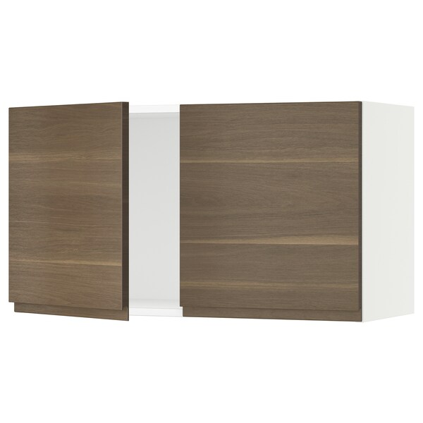 SEKTION Wall cabinet with 2 doors, white/Voxtorp walnut effect, 91x37x51 cm