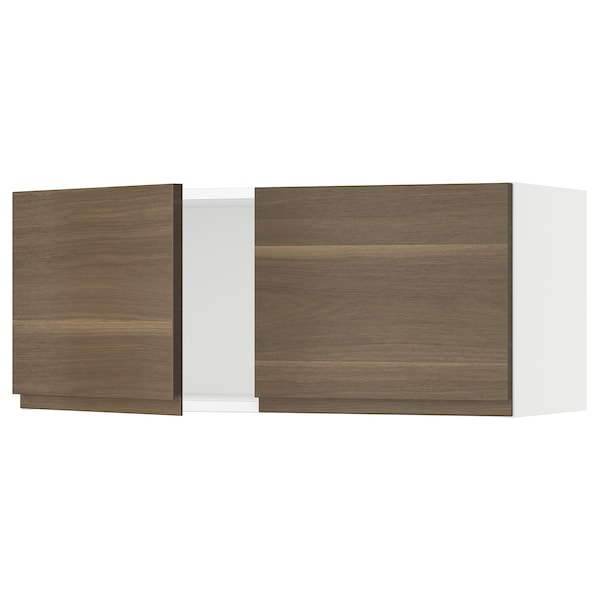 SEKTION Wall cabinet with 2 doors, white/Voxtorp walnut effect, 91x37x38 cm