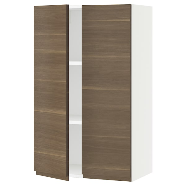 SEKTION Wall cabinet with 2 doors, white/Voxtorp walnut effect, 61x37x102 cm