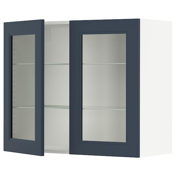 SEKTION Wall cabinet with 2 glass doors, white Axstad/matt blue, 91x37x76 cm