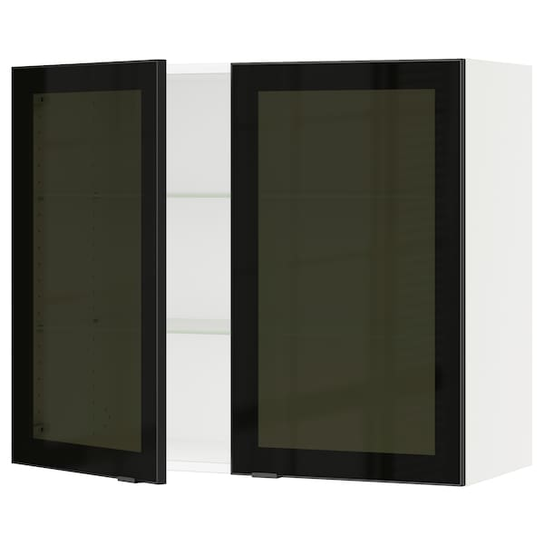 SEKTION Wall cabinet with 2 glass doors, white/Jutis smoked glass, 91x37x76 cm