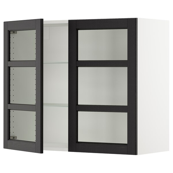 SEKTION Wall cabinet with 2 glass doors, white/Lerhyttan black stained, 91x37x76 cm