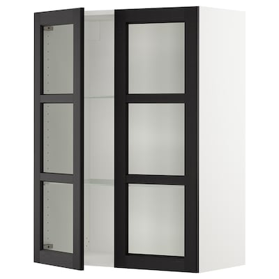SEKTION Wall cabinet with 2 glass doors, white/Lerhyttan black stained, 76x37x102 cm