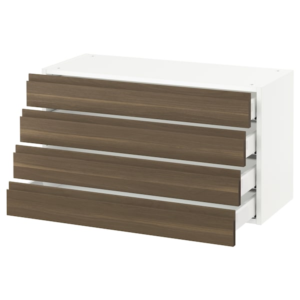 SEKTION Wall cabinet with 4 drawers, white Maximera/Voxtorp walnut, 91x37x51 cm