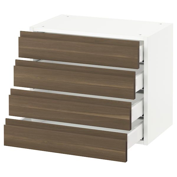 SEKTION Wall cabinet with 4 drawers, white Maximera/Voxtorp walnut, 61x37x51 cm