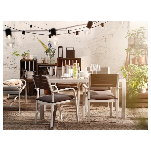 SJÄLLAND Chair with armrests, outdoor, light grey/dark grey