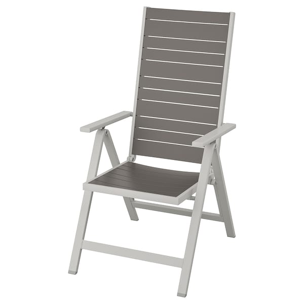 SJÄLLAND Reclining chair, outdoor, light grey foldable/dark grey