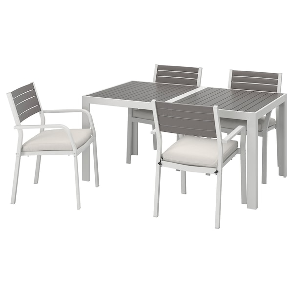 SJÄLLAND Table+4 chairs w armrests, outdoor, dark grey/Frösön/Duvholmen beige, 156x90 cm