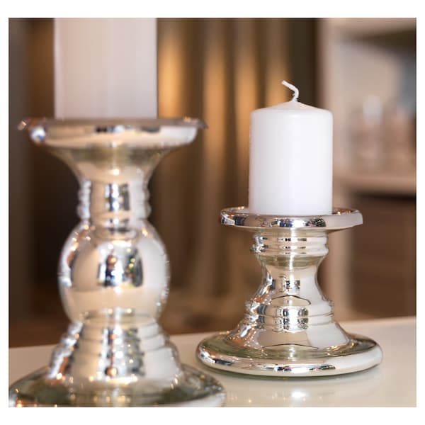 SKIMMER Block candle holder, glass/silver-colour, 17 cm